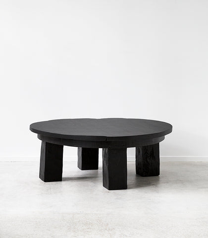 Javanese Recycled Wood Black Round Coffee Table / 1M