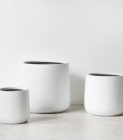 'Bianca Lite' Cylinder Pot / Matt White / 3 Sizes