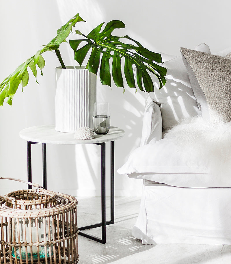 Elle Luxe Marble Side Table / 50cmD