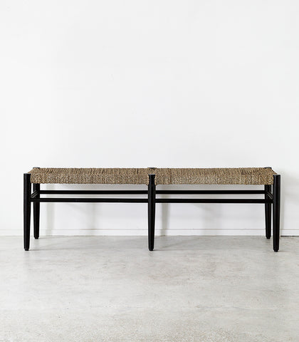 Seagrass Bench Seat / Black & Natural