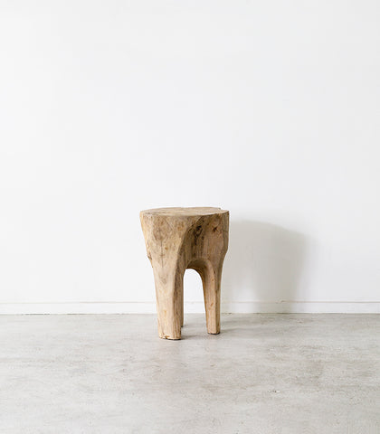Rustic Organic Teak Stool / Natural