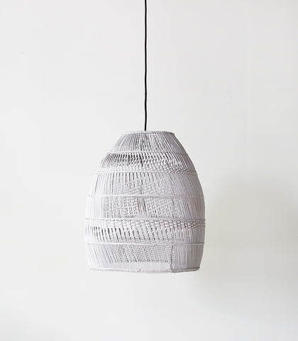 Rattan Hatch Line Lampshade / White