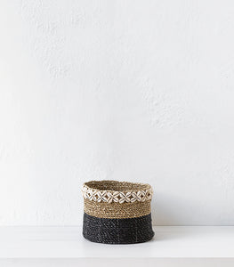 Seagrass Basket w Shells  / Black / Large