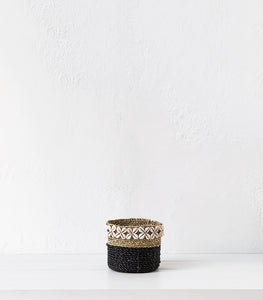 Seagrass Basket w Shells  / Black / Small