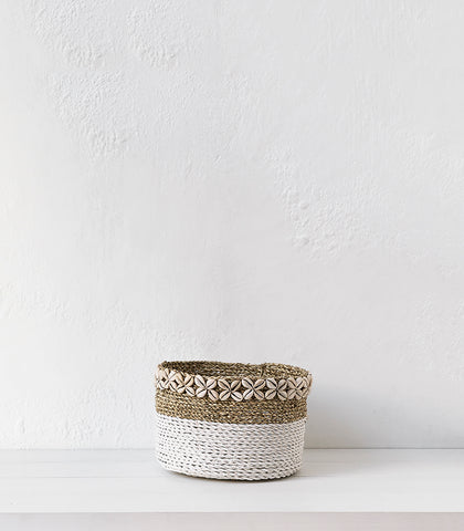 Seagrass Basket w Shells  / White / Large