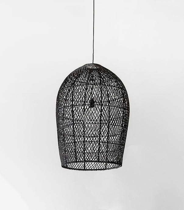 Rattan Lattice Pendant / Black / Large