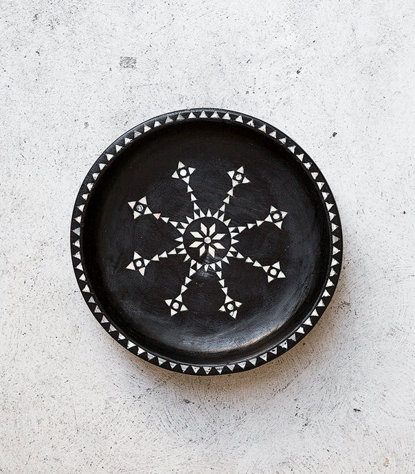 Shell Inlay Bowl / Black / 28cmD