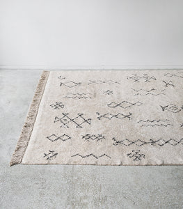 'Ombo' Cotton Floor Rug / Black-Natural White / 160x230cm