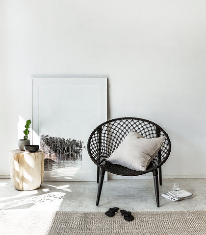 Macrame Round Chair / Black