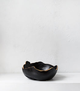 Teak Root Bowl / Black w Natural edge / XL