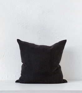 'Temple' Linen-Cotton Cushion w Feather Inner / 55x55cm
