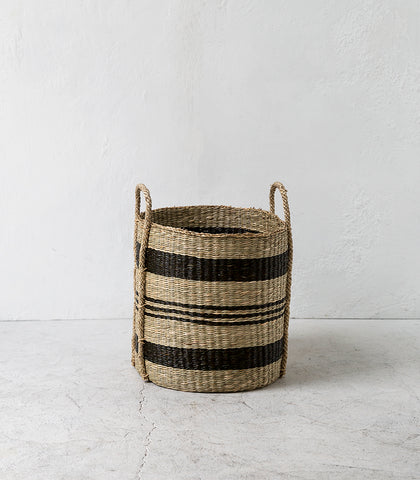 Weave Handle Basket / Blk & Natural Stripe / Small