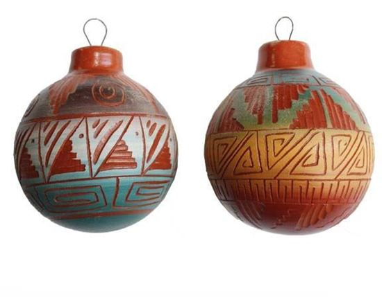 NAVAJO ETCHWARE POTTERY ORNAMENTS