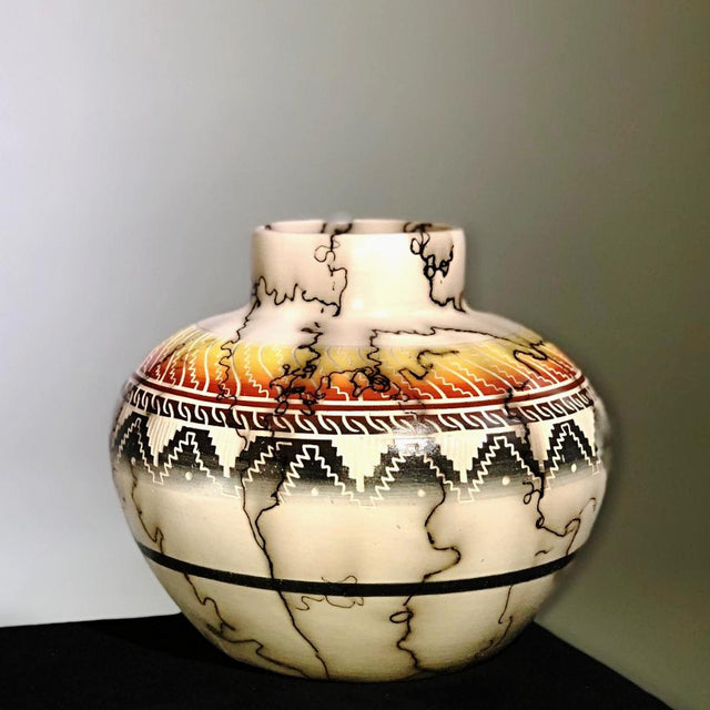 "NAVAJO COLOR BAND POTTERY 8"" WIDE"
