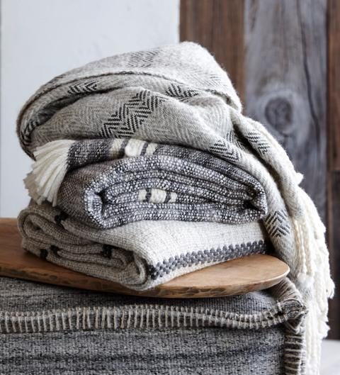 AREQUIPA STRIPE GREY & IVORY THROW (FROM PERU)