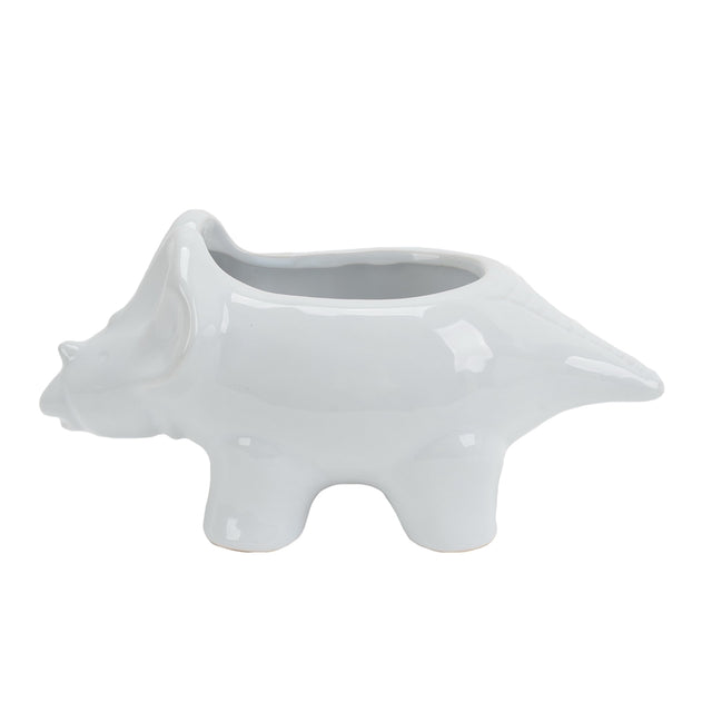 WHITE DINOSAUR PLANTER