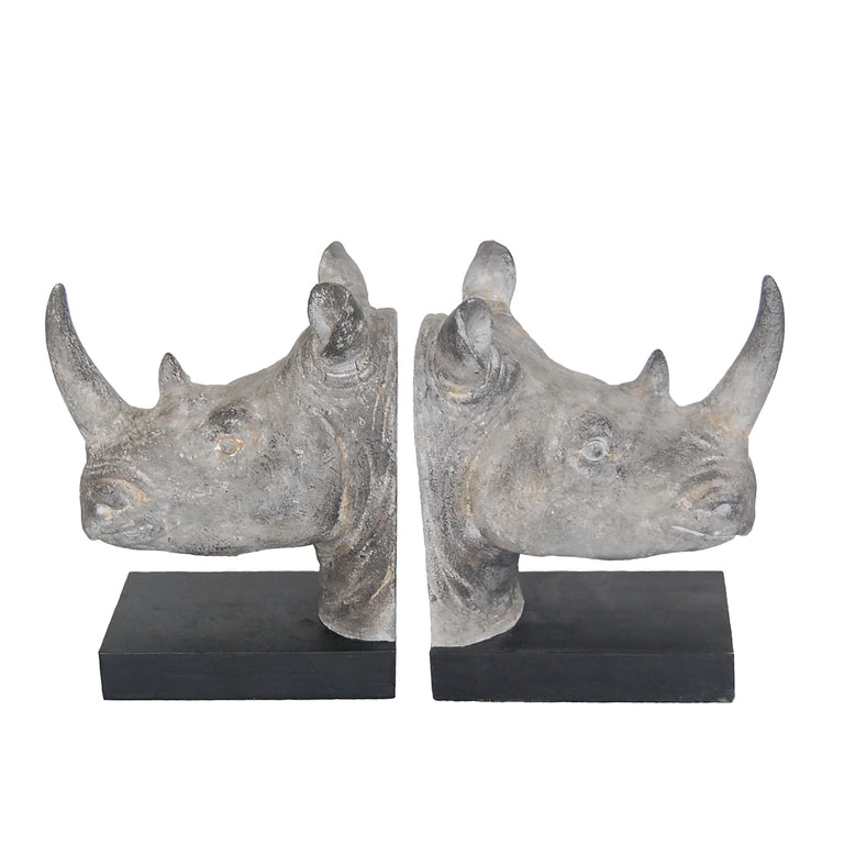 SILVER RHINO HEAD BOOKENDS
