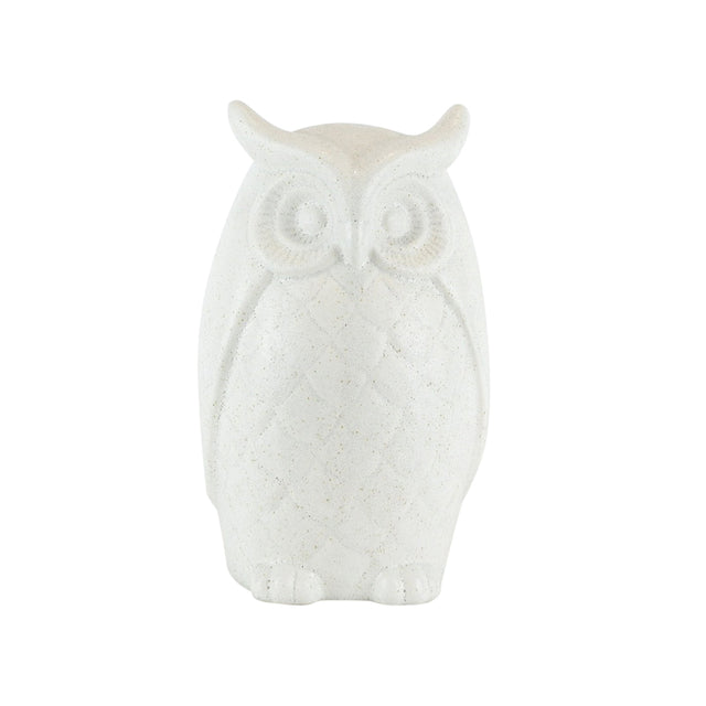 WHITE CERAMIC OWL 10""