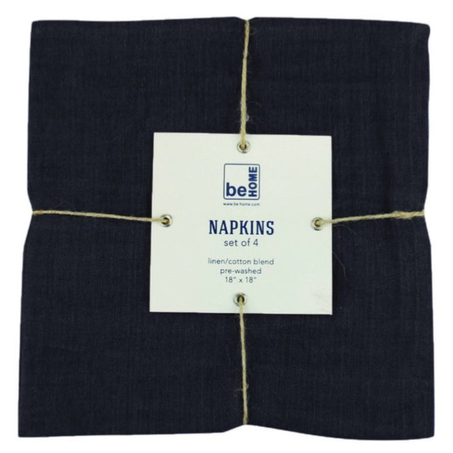 BLACK LINEN NAPKINS <BR>(SET OF 4)