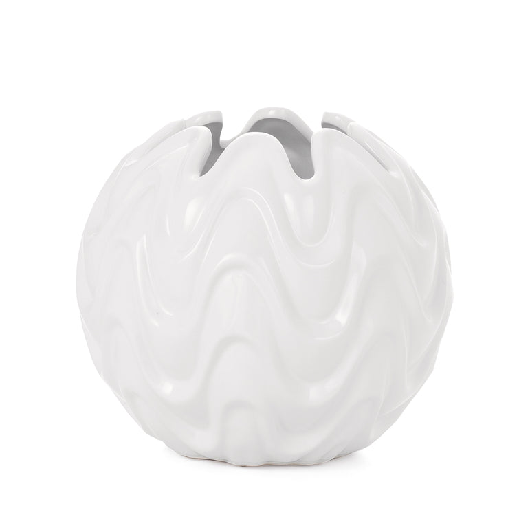 WHITE WAVY BALL VASE SMALL