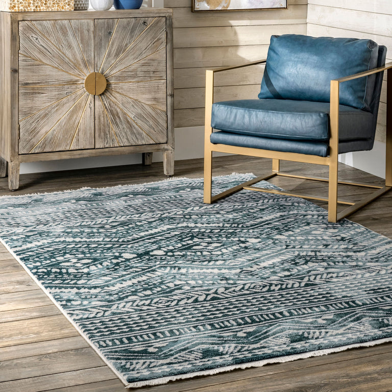 BLUE AZA RELIEF RUG