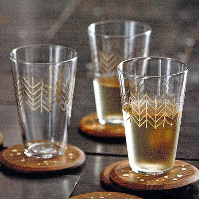 GOLD ETCHED DECO TUMBLER