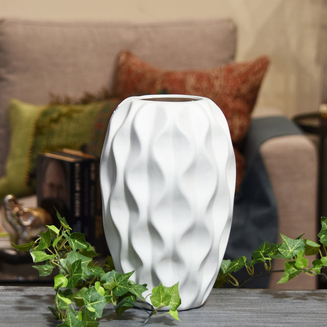 WHITE EMBOSSED WAVE TALL VASE