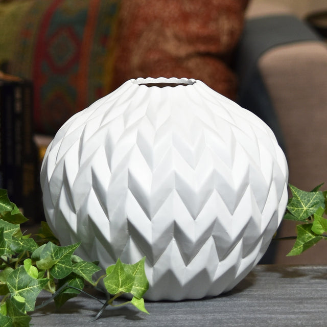 WHITE EMBOSSED WAVE WIDE VASE
