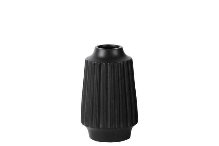 BLACK LEAN FACETED VASES