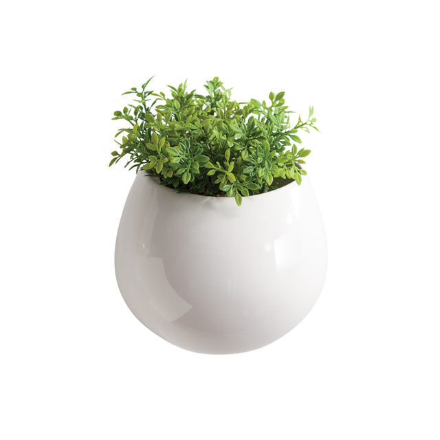 WHITE MOD POD CERAMIC WALL VASE 6""
