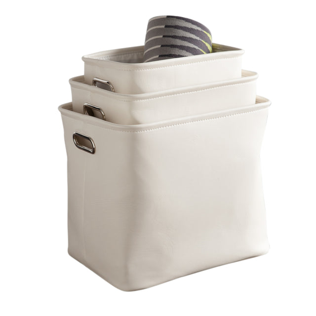 FAUX LEATHER STORAGE TOTES - ECRU - SET OF 3
