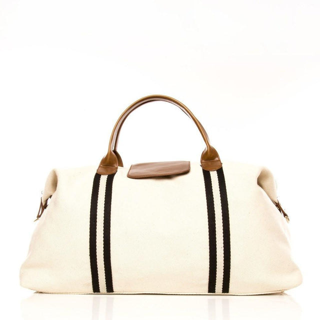 WHITE CANVAS STRIPED DUFFEL