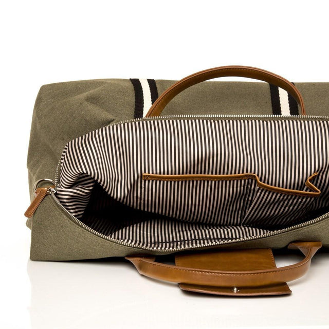 SAGE CANVAS STRIPED DUFFEL