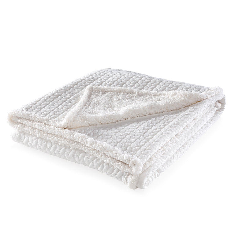 WHITE QUILTED SHERPA THROW