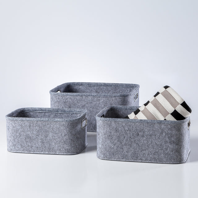 LIGHT GREY SHORT FELT TOTES | STORAGE