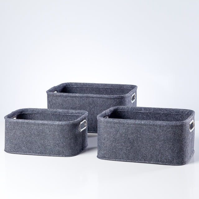 DARK GREY SHORT FELT TOTES | STORAGE
