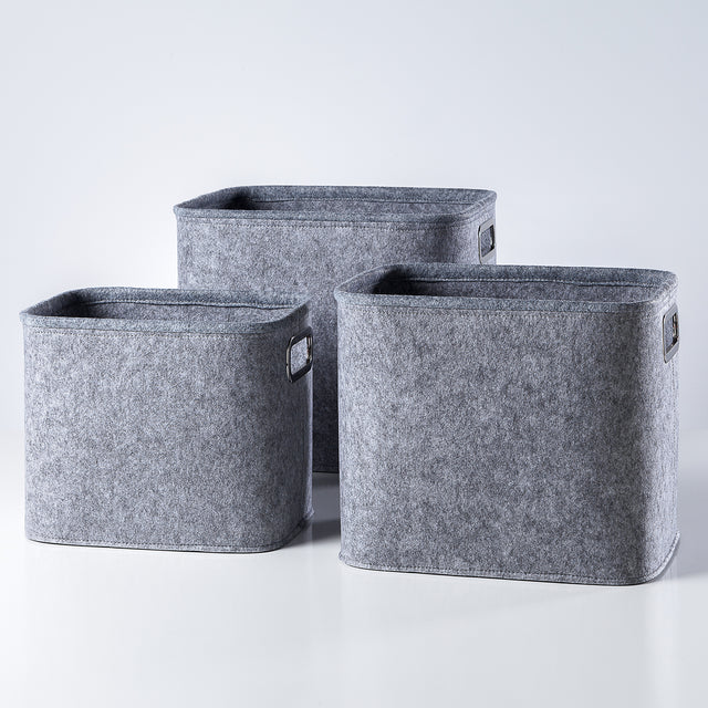 LIGHT GREY TALL FELT TOTES | STORAGE
