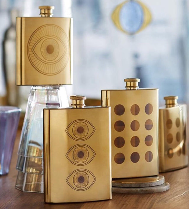 ETCHED BRASS FLASKS | DINING & ENTERTAINING