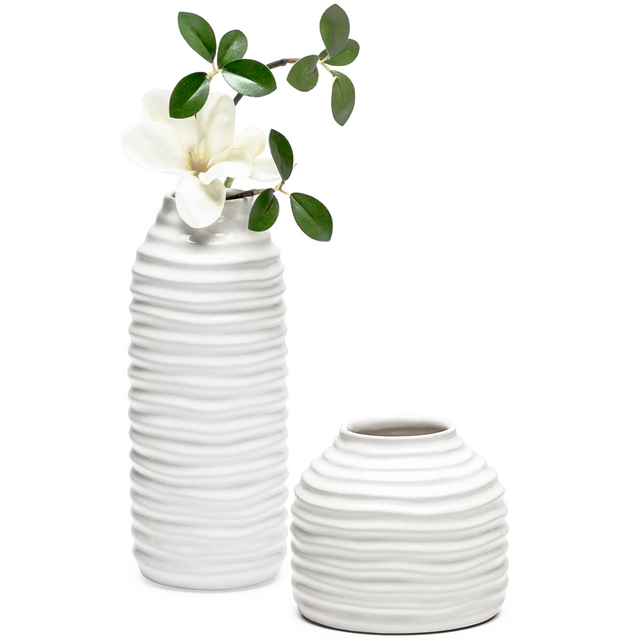 WHITE HIVE CERAMIC VASES