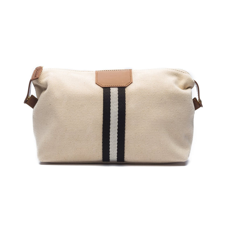 WHITE CANVAS STRIPED TOILETRY BAG