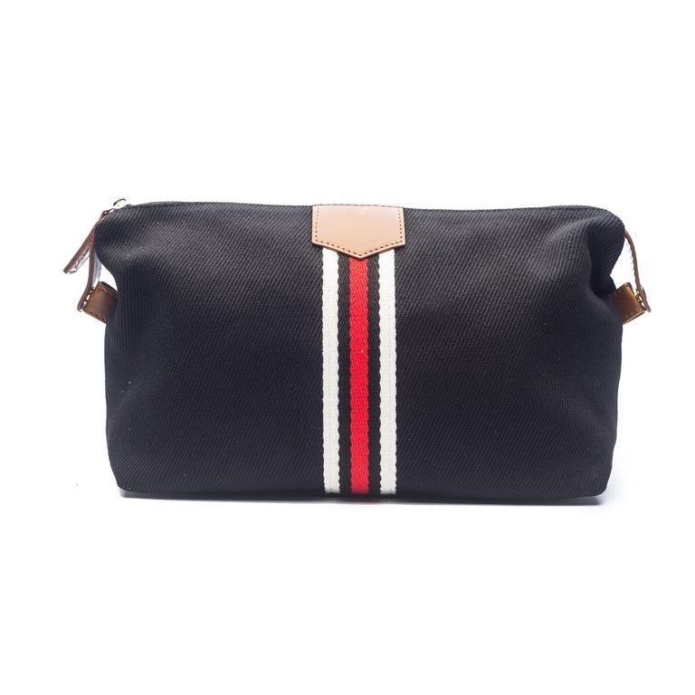 BLACK CANVAS STRIPED TOILETRY BAG