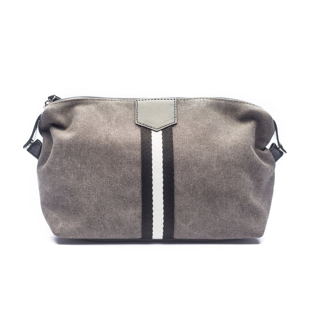 GREY CANVAS STRIPED TOILETRY BAG
