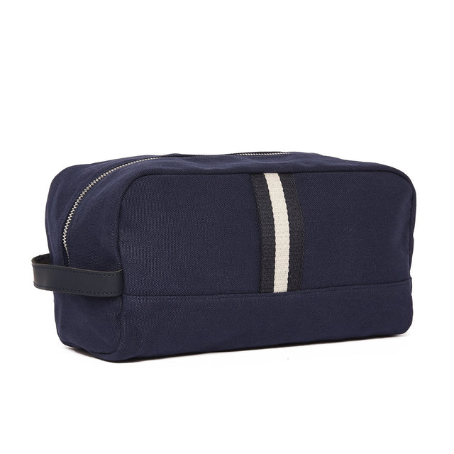 NAVY CANVAS STRIPED TOILETRY BAG