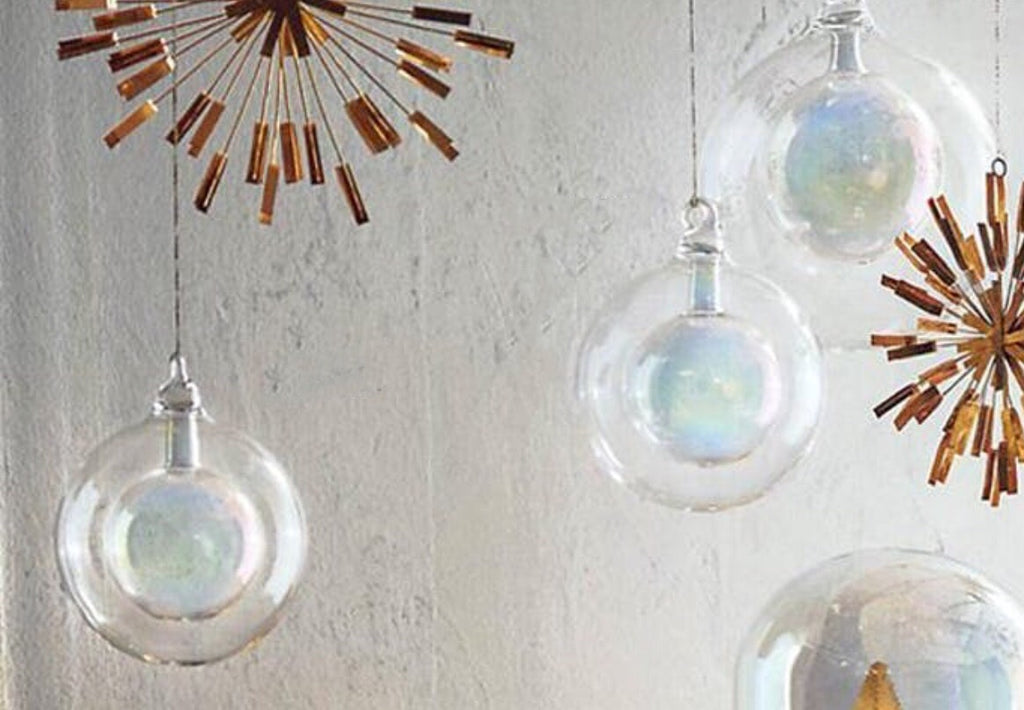 IRIDESCENT GLASS ORB ORNAMENTS