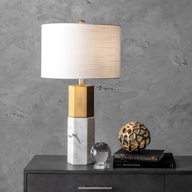 IRON W/ MARBLE TABLE LAMP - 27