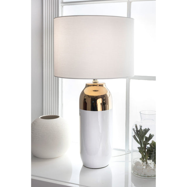 WHITE & BRASS PILL TABLE LAMP - 26