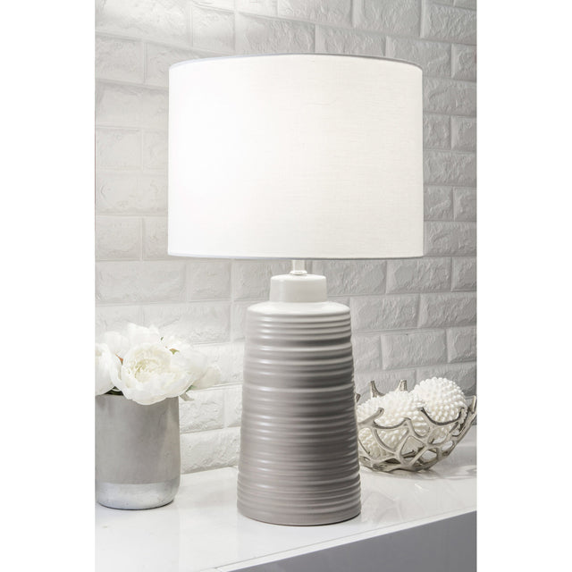 GREY SWIRL CERAMIC TABLE LAMP - 27