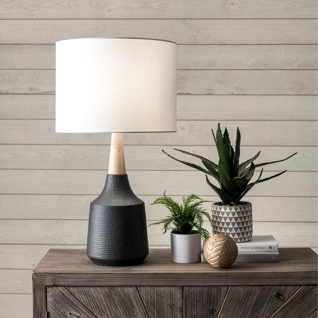 BLACK CERAMIC TABLE LAMP - 28