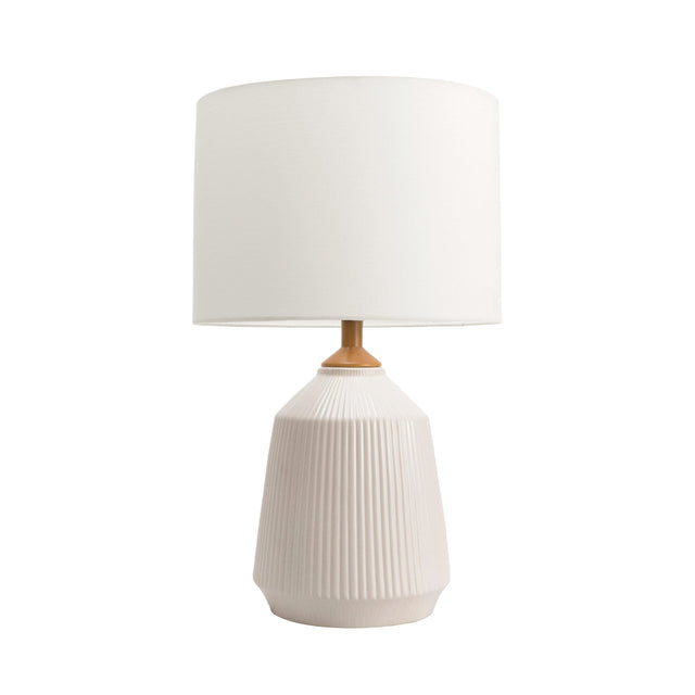 WHITE CERAMIC FLUTED TABLE LAMP - 24