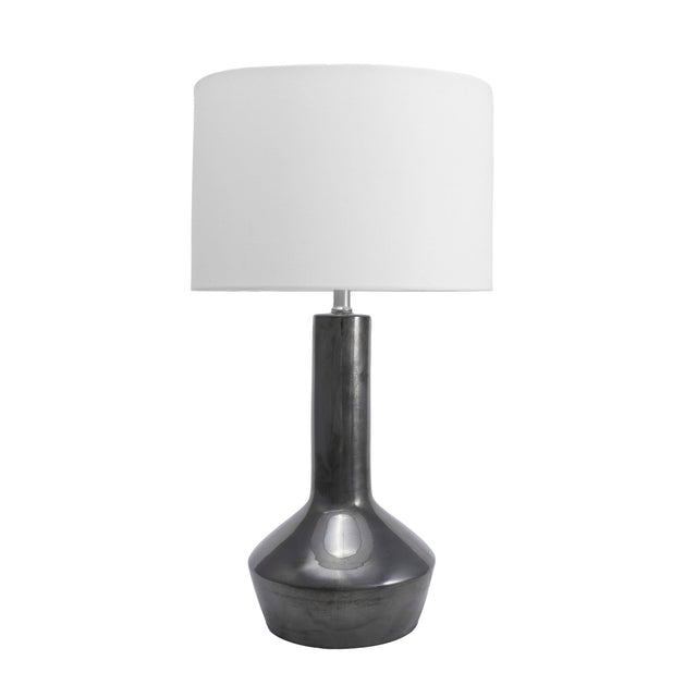 BLACK CERAMIC TAPERED TABLE LAMP - 24